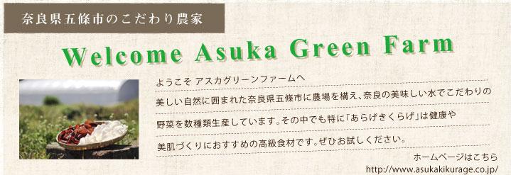 奈良県五條市の農業法人 アスカグリーンファーム | Welcome asuka green farm  / ようこそアスカグリーンファームへ 美しい自然に囲まれた奈良県五條市に農場を構え、奈良の美味しい水でこだわりの野菜を数種類生産しています。その中でも特に「明日香のきくらげ」は健康や美肌づくりにおすすめ高級食材です。ぜひお試しください。ホームページはこちら http://ilgabbiano.francojapan.jp/